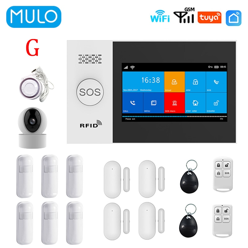MULO Wireless WIFI GSM Home Security Alarm System For Tuya Smart Life APP with Smart Motion Detector and Door Sensor PG107