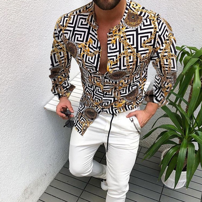 2021 Hot Sale  European American Men's Clothing Casual  Fashion Printed Shirt Single-Breasted Cardigan Long Sleeve Shirt Men