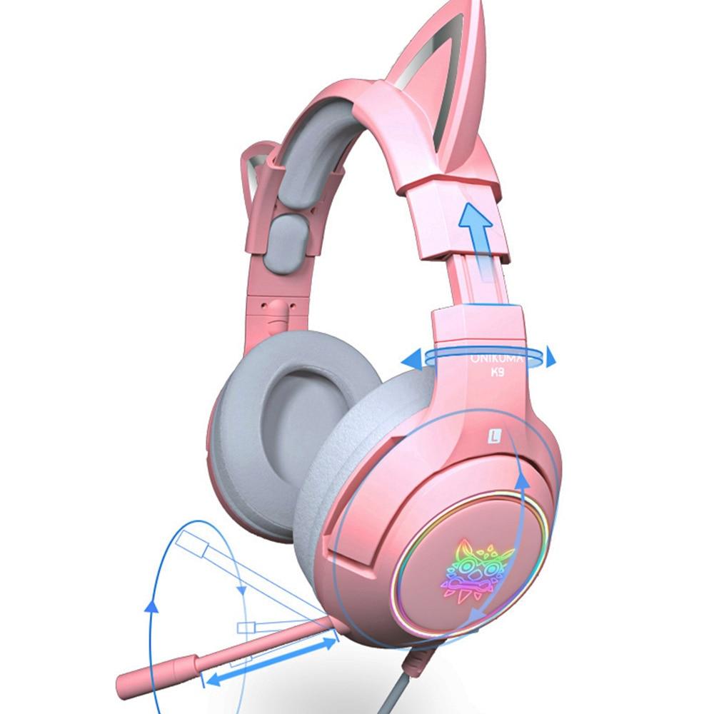 RGB الألعاب 7.1 سماعة رأس ستيريو الوردي سماعة للإزالة القط الأذن السلكية USB مع هيئة التصنيع العسكري الحد من الضوضاء ل PS4/Xbox one لطيف فتاة