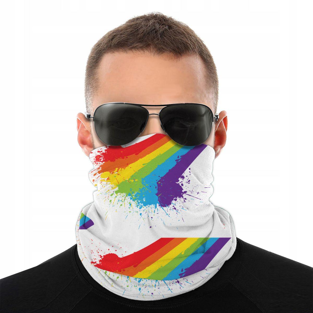 Arco-íris splat lgbt orgulho cachecol meia máscara facial unisex moda tubo máscara pescoço bandanas proteção bandana escalada ao ar livre