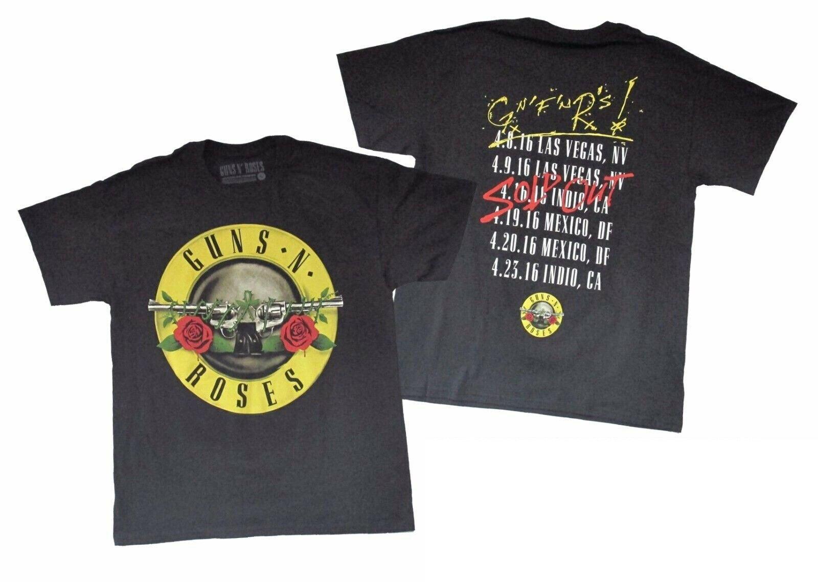 Camiseta de Guns N Roses con Logo de Bullet Seal, Tour de por vida auténtico 2016 vendido S 3X