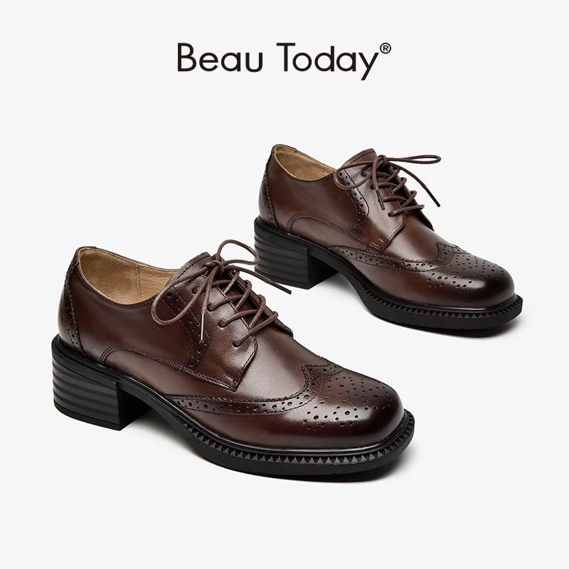 BeauToday البروغ ديربي أحذية النساء جلد البقر ساحة تو الدانتيل يصل إغلاق كتلة كعب السيدات حذاء مسطح غير رسمي اليدوية 21629