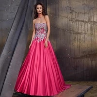 strapless open back a line sweepbrush floor length applique banbage sleeveless evening dresses fashion high quality