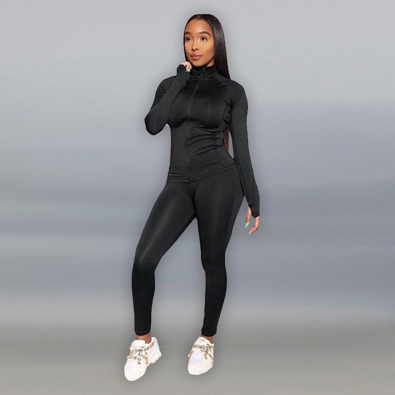 Спортивный костюм женский из двух предметов, одежда для отдыха на молнии с длинным рукавом, джоггеры, комплект спортивных костюмов, Байкерс...