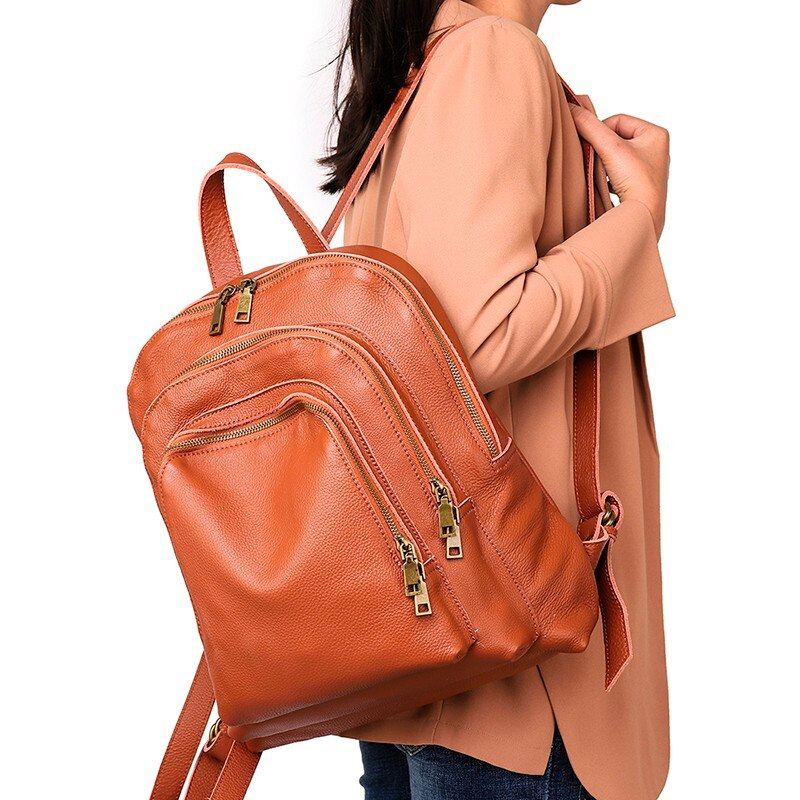 Luxury Genuine Leather Women Backpack Casual Vintage Cow Leather Backpack Bag Female Rucksack School Large Lady Travel Backpack