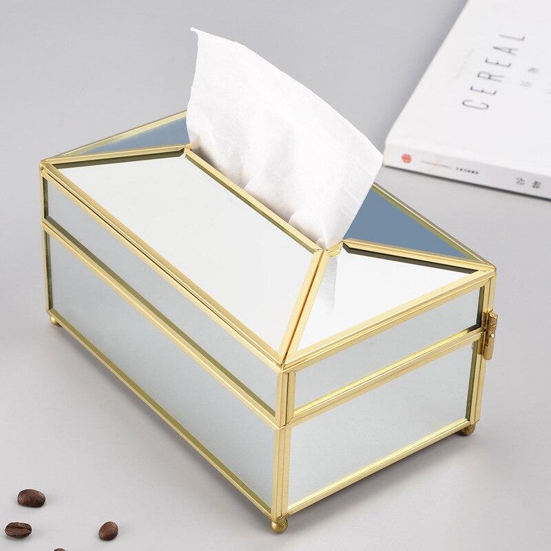 الإبداعية و المألوف الزجاج الأنسجة صندوق الذهب النحاس حافة الرسم صندوق شفاف مرآة منديل صندوق تخزين