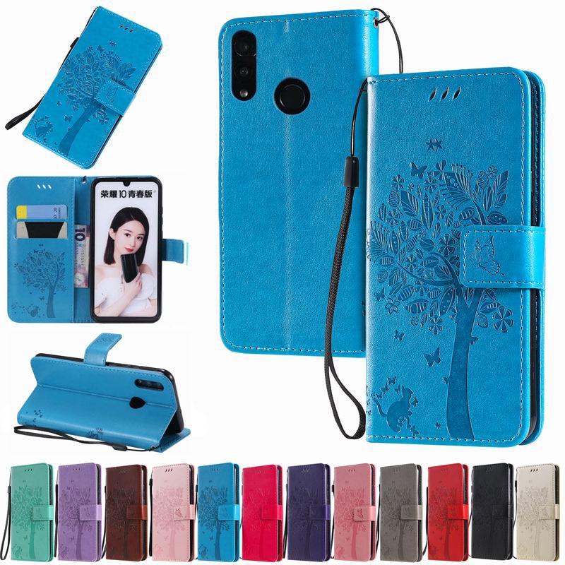 Funda para Huawei Honor 10 i, Funda para Honor 10 Lite, Funda de lujo tipo billetera con tapa, Funda de cuero para teléfono Honor X10, Funda 3D Tree