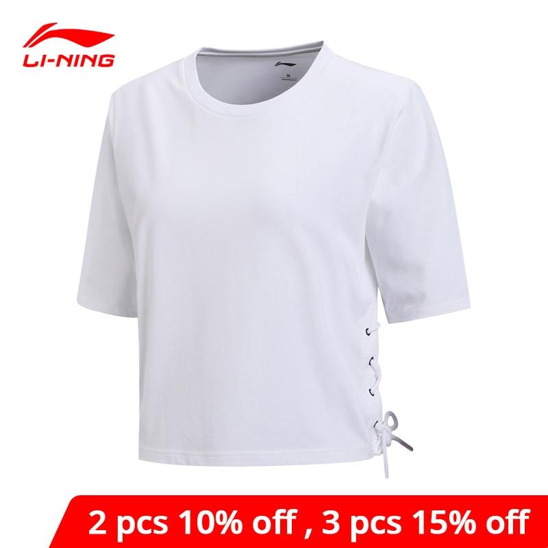 Li-ning Women The Trend T-Shirts 92% Cotton 8% Spandex Breathable LiNing li ning Loose Fit Comfort Sports Tops AHSN428 WTS1431