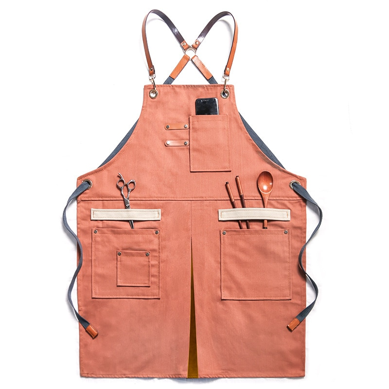 Waterproof Oil-Proof Denim Apron Stain-Resistant with Two Pockets for Kitchen Baking Cooking Hairdresser Florist Chef Bib Aprons enlarge