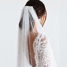 Welon Slubny-velo de novia con perlas de 3 metros de largo, de una capa velo de novia, catedral, 3 M, con peine, gasa, Mariage