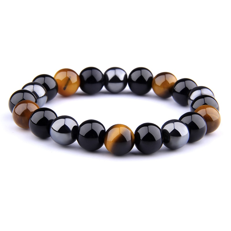 Натуральный черный обсидиан гематит тигровый глаз бусины браслеты для мужчин для магнитной защиты здоровья женщин ювелирные изделия Pulsera ...