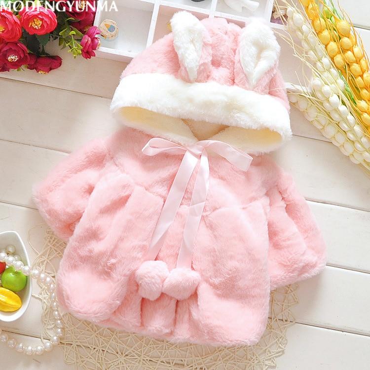 Ropa de nieve para niñas. Nueva moda de 2020. Abrigo con capucha para invierno con orejas de conejo. Ropa de abrigo para niños. Ropa abrigo para invierno de algodón para 6M-2T