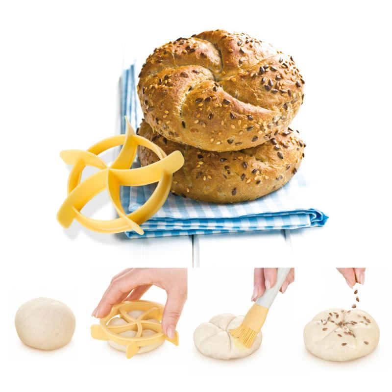 Ferramentas de cozimento pão molde cortador de pastelaria plástico bolo biscoito selo molde fã em forma de massa biscoito imprensa pão rolos molde