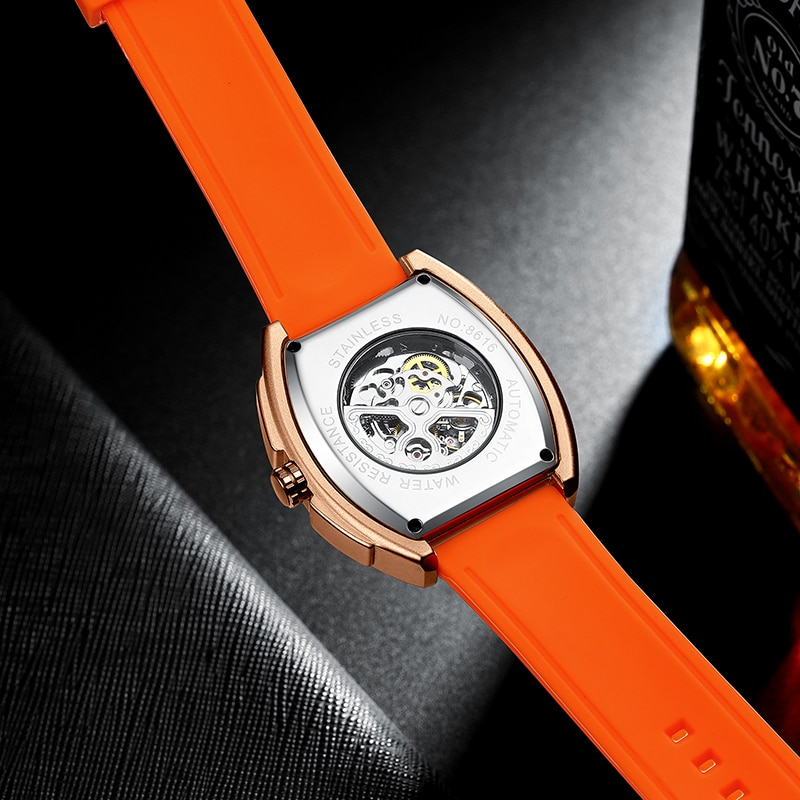 The new AILANG men's watch hollow luminous high-end wine barrel-shaped men's automatic mechanical watch enlarge