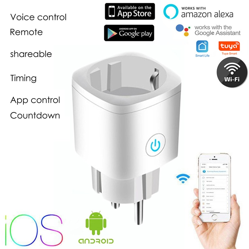 WiFi Smart Plug EU Adaptor Outlet Tuya Remote Control Monitor Power Home Appliances Works With Alexa Google Home Smartlife App