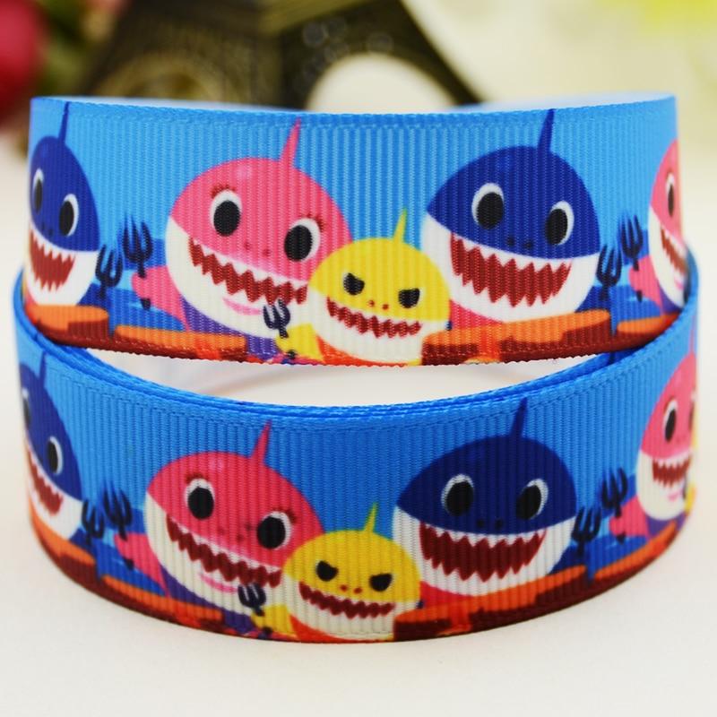 22mm 25mm 38mm 75mm Baby shark Cartoon printed Grosgrain Ribbon party decoration 10 Yards X-03146