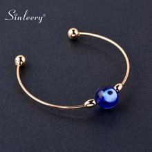 SINLEERY mignon bleu oeil verre réglable beau bracelet jaune or argent couleur amitié femmes Bracelets bijoux SL146 SSD