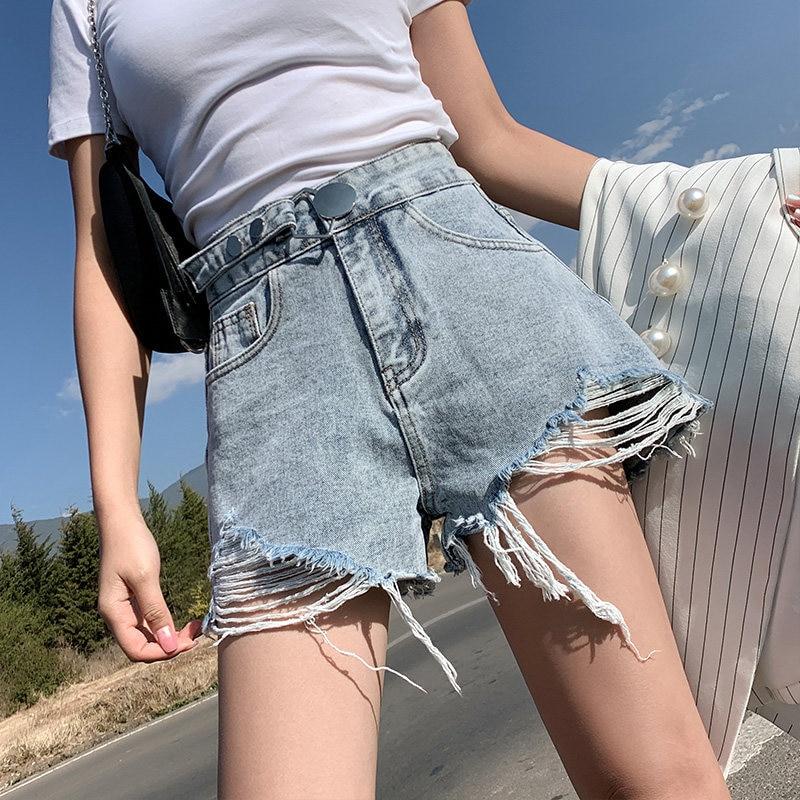 Streetwear High Waist Wide Leg Denim Shorts For Women 2020 New Summer Korean Style Women Loose Ripped Jeans Shorts Large Size