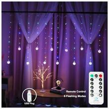 Pilot drut miedziany żarówka globe kurtyna świetlna na okno moc USB pragnąc Ball Fairy girlanda żarówkowa wystrój do sypialni ślub