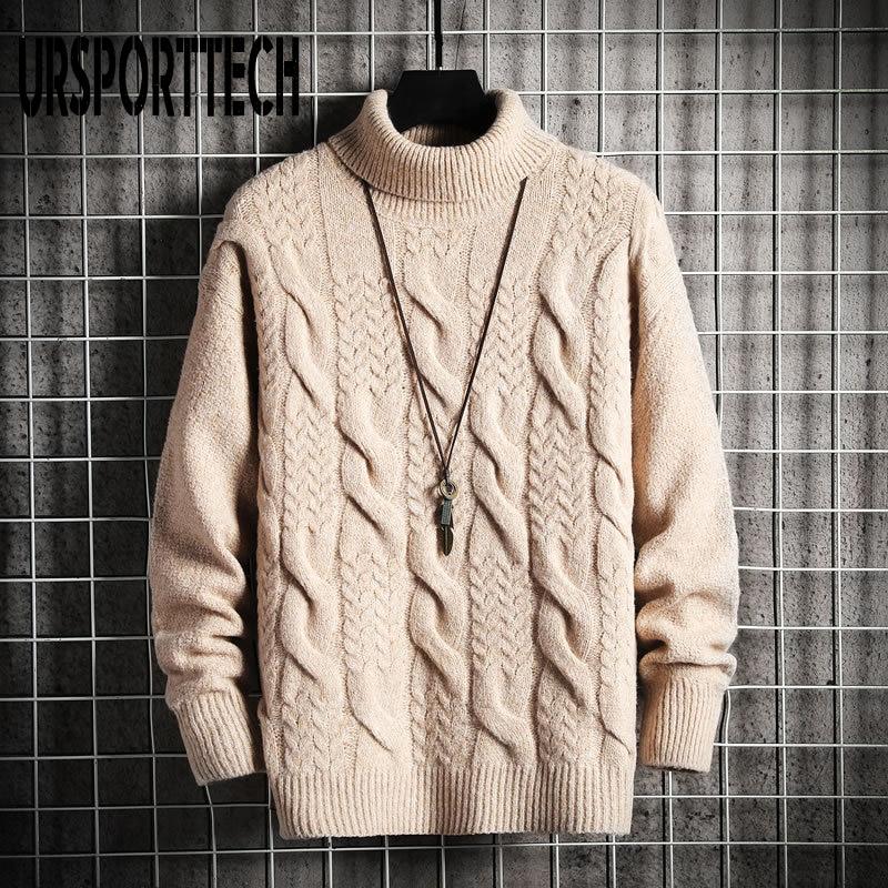 URSPORTTECH Turtleneck Sweater Mens Wool Knit Pullover Sweater Male Oversized Turtle Neck Twisted Pattern Men Sweter Pull Jumper wave pattern open knit jumper