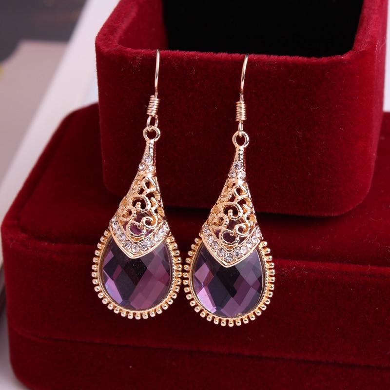 Retro palace temperament Water drop Austrian rhinestones earring Female Fuchsia earring Hypoallergenic earrings