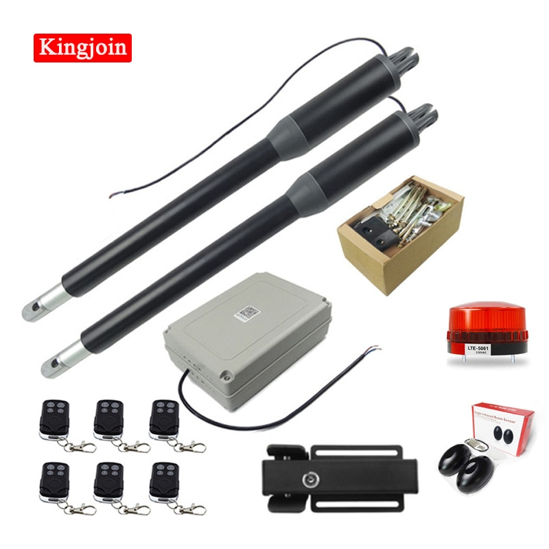 High-quality automatic door opener motor linear actuator with remote control and electric lock double door opener optional automatic swing door gate opener electric double arm opener operator linear actuator with remote control warning light optional