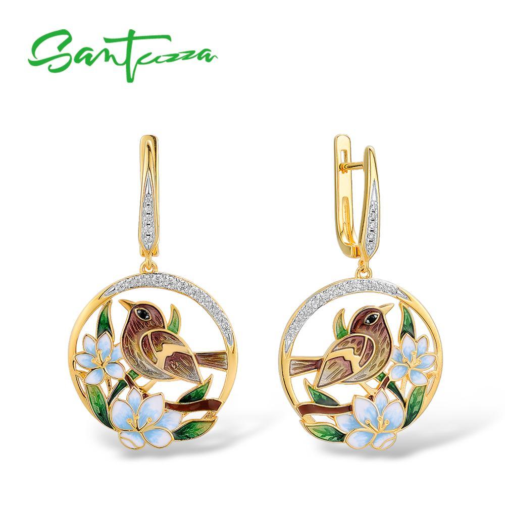Santuzza brincos de prata para mulher authentic 925 prata esterlina cor do ouro delicado flor sparrow jóias finas artesanal esmalte