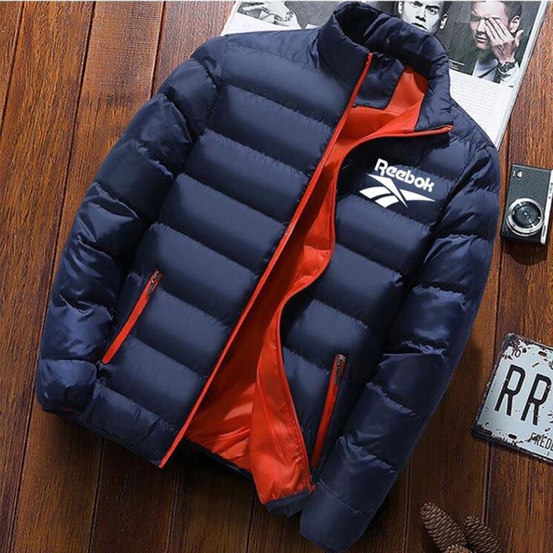 Reebok casacos de inverno parka homens outono inverno quente outwear marca magro dos homens casacos casuais blusão acolchoado jaquetas masculino M-3XL