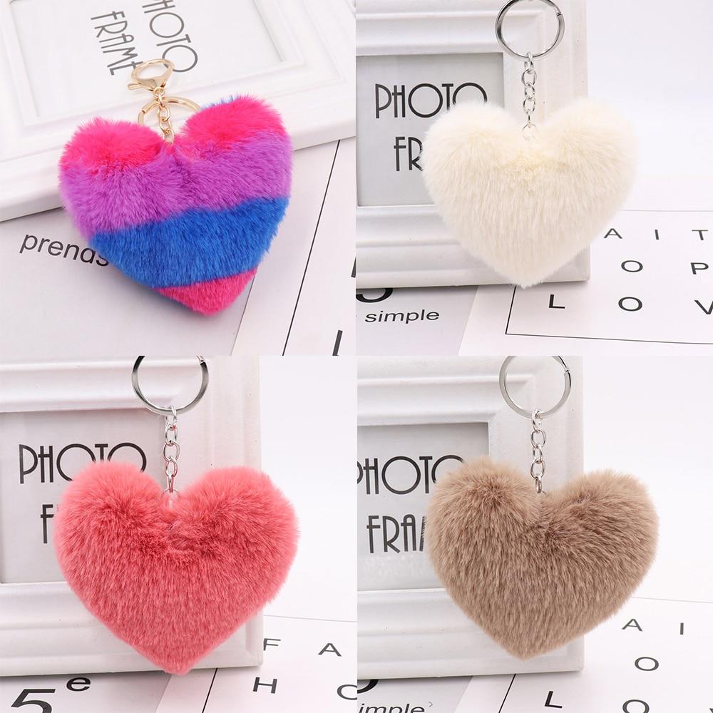 23 colors plush keychain imitation wool rabbit fur fluffy heart-shaped pom-pom ladies backpack pendant gift 10-14cm WJ239