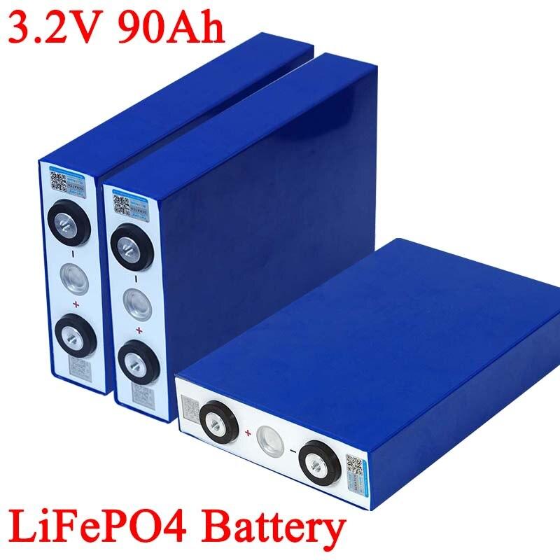 Batería LiFePO4 de 3,2 V y 90Ah, fosha de litio 270A y 3C para motocicleta, Motor, batería de barco, 12V 24V 48V