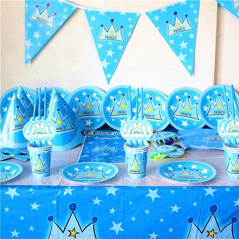 Azul Príncipe Coroa Tema da Festa de Aniversário Talheres Descartáveis Suprimentos Bandeira Toalha de Mesa Guardanapo de Papel Do Chuveiro de Bebê Decorações Definir