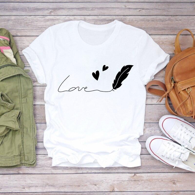 Женские футболки с принтом перьев Love, простые и милые женские стильные футболки с принтом на лето и осень, футболка для девочек