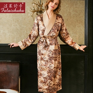 Thicken 100% genuine silk Dressing gown women robes nightgowns Golden rose Noble elegance pure mulberry silk robes women S5655