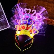 Luminous Party 2020 New Year Eve Supplies LED Blinking Headband Hair Band Accessories Decor Flashing Props Headwear Light