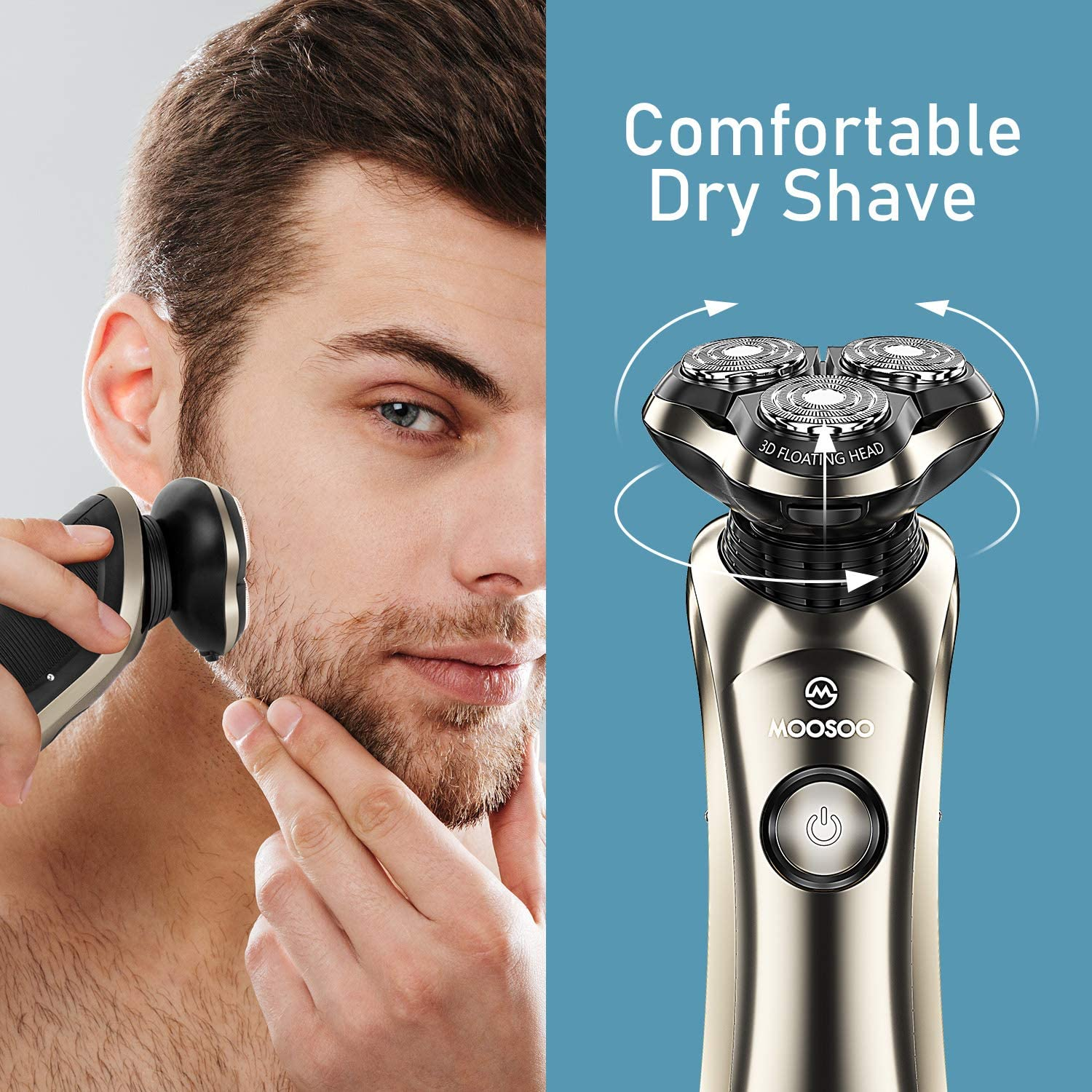 MOOSOO Electric Shaver Razor with Precision Trimmer Shaving Machine LED Digital Display Rechargeable 3D Trimmer Beard Washable enlarge