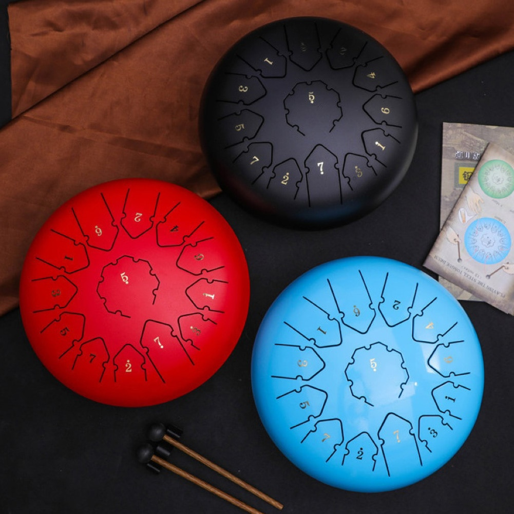 Tongue Drum 6 Inch 11 Tone Steel Tongue Drum Set Hand Pan Drum Pad Tank Sticks Carrying Bag Percussion Instruments Accessories enlarge