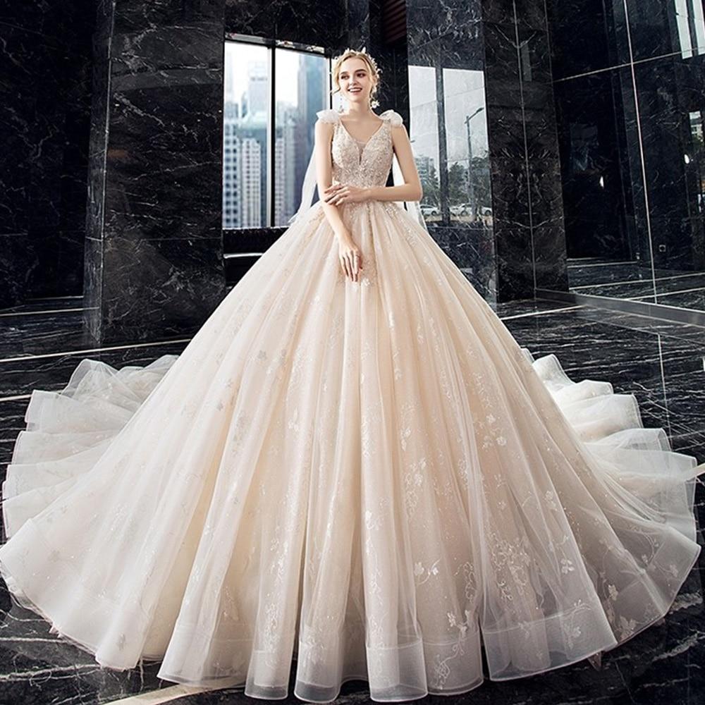الشمبانيا فساتين الزفاف ثوب الكرة الخامس الرقبة تول زين مطرز بوهو دبي ثوب زفاف عربي فستان الزفاف Vestido De Noiva