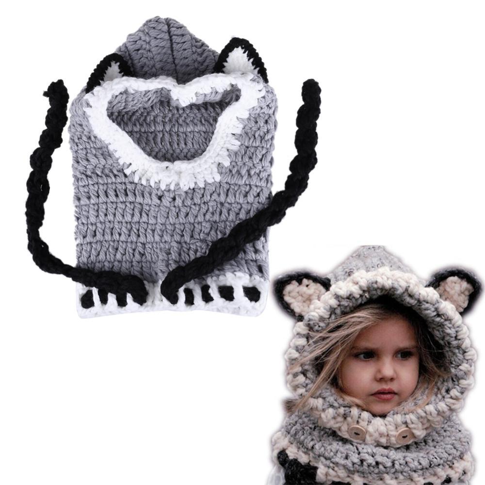 2020 design do bebê chapéu de veludo boné de gato orelha inverno quente gorro crianças chapéu à prova de vento cachecol menino menina feito à mão bonés de malha presente