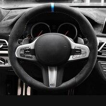 Schwarz Alcantara Auto Lenkrad Abdeckung für BMW M Sport G30 G31 G32 G20 G21 G14 G15 G16 X3 G01 x4 G02 X5 G05