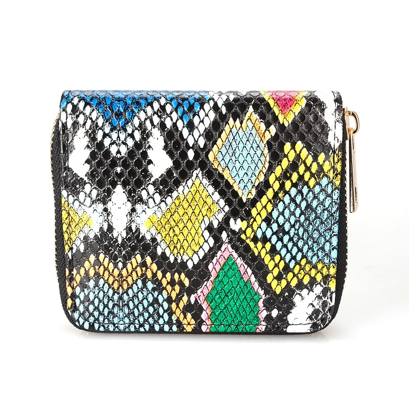 Novelty Color python Zipper Small Coin Purses ID Card Holder Wallet Women 2021 New Cartera Mujer Short Wallet for Card Coin Bag