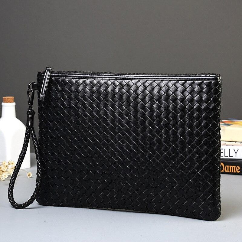 Männer Leder Business Handtasche 2020 Neue Mode Männlichen Schwarz Hülle Tasche Männlichen Casual Weben Leder Aktentasche