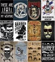 shaves and haircuts barber shop metal poster plate man hairstyle tattoos tin sign plaque bar cafe home decor iron painting