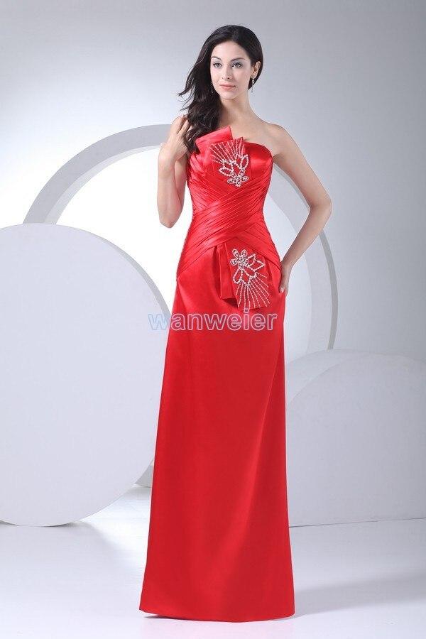 Envío Gratis vestido formal 2016 sin hombros más vestidos largos rojos de dama de honor rebordear barato vestido de fiesta de boda