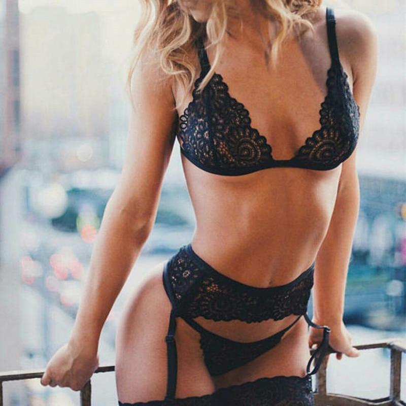 3pcs Sexy Lingerie Set Women Lace Transparent Babydoll Open Bra Set Garter G-String Plus Size Underwear Set Black Bra Brief Sets