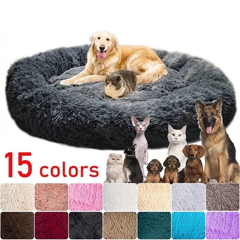 Cama grande para perro, caseta redonda de lana cálida para mascotas, cesta...