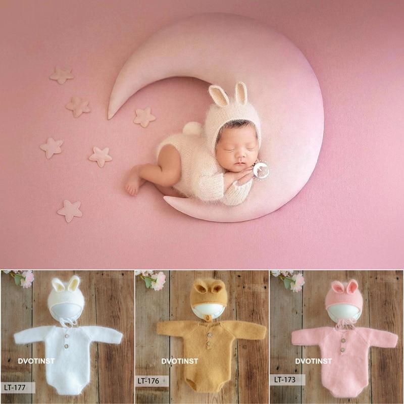 Dvotinst-إكسسوارات التصوير الفوتوغرافي لحديثي الولادة ، فرو ناعم ، أرنب محبوك ، بدلة رومبير ، قبعة ، قبعة استوديو ، ملحقات التصوير