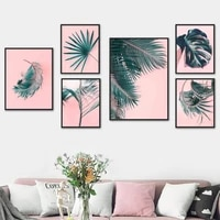 modern tropical plant monstera cycad palm wall art canvas painting nordic posters and prints wall pictures for living room decor