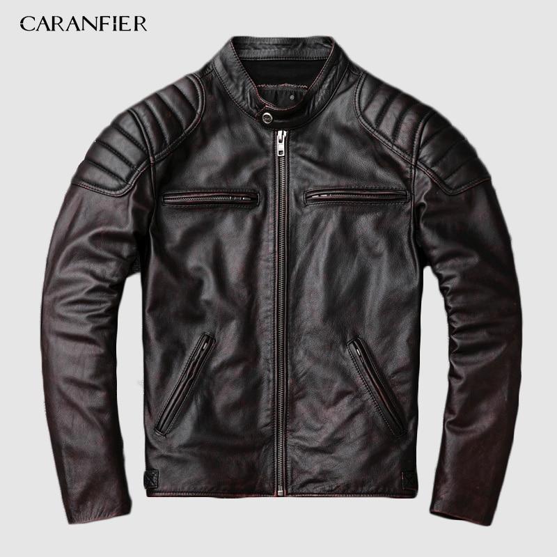 CARANFIER-جاكيت راكب الدراجة النارية من جلد البقر للرجال ، معطف شتوي من جلد الماعز مع دباغة خضروات