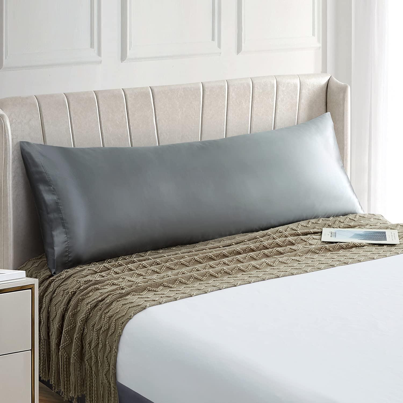 Домашняя наволочка для подушки, мягкая серая атласная наволочка для подушки, наволочка для подушки с застежкой-конвертом, шелковый длинный ...
