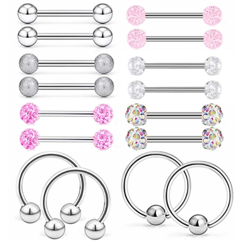 1Pair Stainless Steel Nipple Piercing Bar 14G Crystal Nipple Ring Pack Sexy Captive Bead Ring Horseshoe Barbell Nipple Jewelry